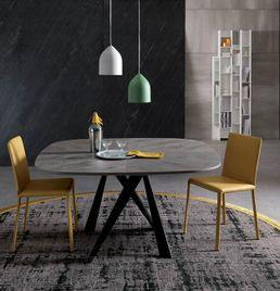 BOMBO WOOD dizajnový zaoblený jedálenský stôl dyha OZZIO
