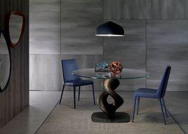 LIQUID I. dizajnový okrúhly jedálenský stôl sklenený OZZIO
