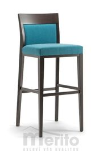 ATLANTA dizajnová barová stolička SG masívne nožičky rôzne morenia látka koža