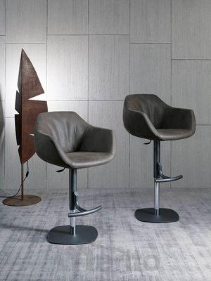 BORIS barová stolička otočná výškovo nastaviteľná s podrúčkami koža