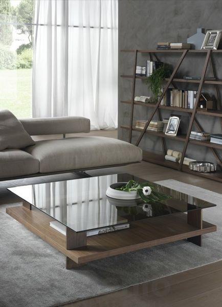 CORALLO konferenčný stolík dyha orech 120 x 120 cm P&C
