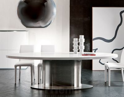 ELLYS oválny dizajnový stôl s kruhovou nerezovou nohou